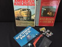 Lot of 3 American Railroad History Books, Trading Ticket  & Pinbacks