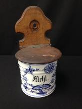 Vintage White/Blue Hand Painted Ceramic Canister with Wood lid.