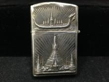 Vintage Siam Sterling Silver Zippo Lighter