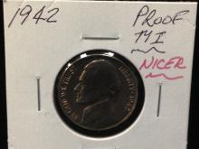 1942 Proof Jefferson Nickel Ty I Nicer