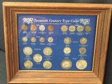 20th Century Type Coin Collection in display