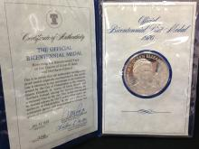 1976 Sterling Silver Bicentennial Visit Medal