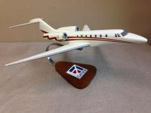 CESSNA Citation X Airplane Desk Top Model on Wood Stand.