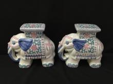 Pair of Vintage Ceramic Elephant Plant Stands.