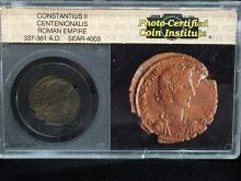 Ancient Roman Photo Certified Coin 337-361 A.D.
