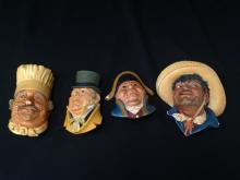 Lot (4) Vintage Bossons Chalkware Heads.