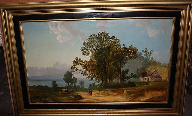"Charles Baker. American. 1844-1906. Date 69'. Oil on canvas. 29 3/4"" x 49 3/4"". Landscape. Original frame. 4 inch diameter stain above house. Consigned by a local church. $500 Reserve."