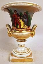 OLD PARIS PORCELAIN URN. Hand painted and gold