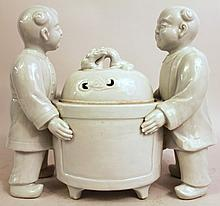 CHINESE BLANC DE CHINE (WHITE PORCELAIN) COVERED