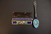 STERLING AND ENAMEL MILITARY SOUVENIR SPOON AND AN