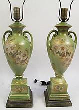 PAIR OF CERAMIC TABLE LAMPS. Green floral painted