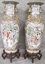 PAIR OF COLOSSAL CHINESE PALACE URNS. 5'4