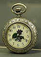 SILVER ETCHED LADY'S WATCH. With floral enamel
