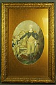 FRAMED COLORED PRINT. Washington and his horse. In