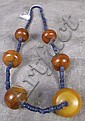 LAPIS COLOR HE HSI BEAD NECKLACE.  With six large amber beads.  17 1/2