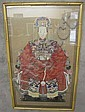 CHINESE ANCESTOR FRAMED WATERCOLOR PORTRAIT.  Good color and detail.  Framed.  41 1/2