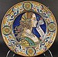 ITALIAN POLYCHROME FAIENCE CHARGER.  In the 16th Century Style.  Signed G. Grazia.  In Der.Ta.  18