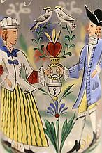 ANTIQUE GERMAN GLASS BEER STEIN WITH ENAMEL PAINTING OF COUPLE.