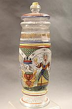 ANTIQUE GERMAN GLASS JAR WITH VIVID ENAMEL PAINTING.