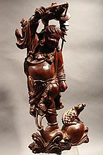 ASIAN WOOD CARVED SCULPTURE.