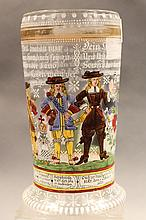 GERMAN ANTIQUE BEER STEIN GLASS WITH ENAMEL & GILT PAINTING. 9