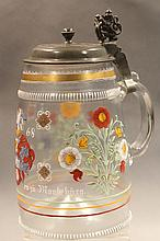 ANTIQUE GERMAN GLASS BEER STEIN WITH PEWTER LID.