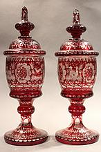 PAIR OF BOHEMIAN RUBY CUT TO CLEAR MANTLE URNS.  14