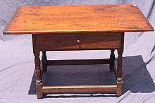 ANTIQUE ONE DRAWER TAVERN TABLE.