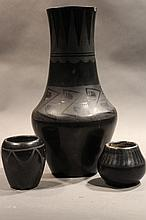 3 PIECES OF BLACKWARE POTTERY.