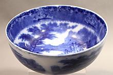 A VINTAGE JENNY LIND ROYAL STAFFORDSHIRE BURSLEM FLOW BLUE BOWL. 8 1/2