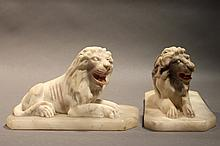 PAIR OF MARBLE LION BOOK ENDS.