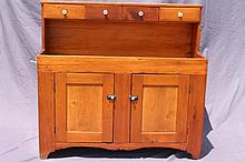 ANTIQUE DRY SINK WITH FOUR DRAWERS ACROSS TOP.