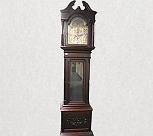 MAHOGANY GRANDFATHER CLOCK.