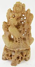 CHINESE CARVED SOAPSTONE FIGURE. Bird and flowers.
