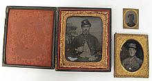 TWO CIVIL WAR ERA SOLDIER TINTYPES AND A