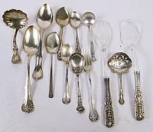 STERLING SILVER ASSORTED FORMS. 15 pieces. Total