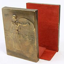 PAIR OF EQUITABLE (INSURANCE CO.) BOOKENDS. Bronze