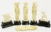 CHINESE IVORY CARVINGS. Including three standing