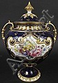 FINE ROYAL CROWN DERBY PORCELAIN HANDLED COVERED VASE.  Artist signed A. Gregory.  Great floral detail on a cobalt and cream ground with gilt trim.  7793/1253.  10 1/2