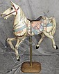 CAROUSEL DECORATED HORSE.  On brass and wood stand.