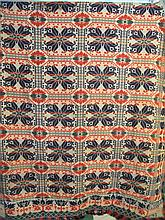 JACQUARD WOVEN COVERLET. Blue, red, green and