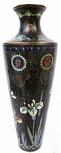 EARLY BLACK GROUND CLOISONNE VASE. With various
