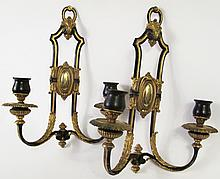 PAIR OF BRONZE SCONCES. With handsome ebonized