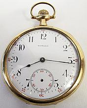 E. HOWARD 14K MAN'S POCKETWATCH. Open face with a