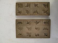 TWO SPRINGELE COOKIE MOLD BOARDS. Hand carved