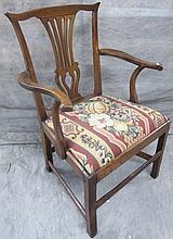 18TH CENTURY COUNTRY CHIPPENDALE ARMCHAIR.  Cherry with straight legs, box stret