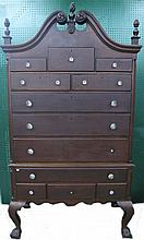BENCHMADE 19TH/20TH CENTURY MAHOGANY HIGHBOY.  Broken arch pediment on top secti