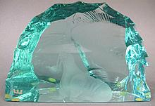 KOSTA-SWEDEN CARVED WALRUS ON ICEBERG CRYSTAL DESK OBJECT.  4 1/4