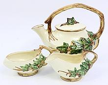 MCCOY ART POTTERY TEASET.  Teapot, cream and sugar.  Pot is 8 1/2
