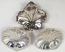 STERLING SILVER LEAF NAPPIE AND TWO SCALLOP SHELL DISHES.  16.95 oz. troy.